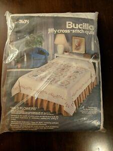 "Vintage BUCILLA Jiffy Cross Stitch Quilt Kit # 3634 ""Wild Flowers"" Double/Full"