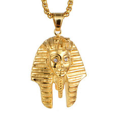 "Egyptian Pharaoh Pendant for Men Necklace Gold Stainless Steel 24"" Box Chain"