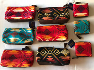 Lot 9 Pendleton Southwestern Wool Leather 6 Small Cosmetic Bags+3 Zip up Wallets