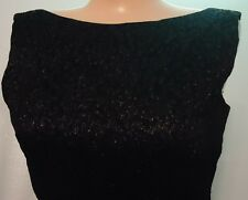 Vtg 60s Sexy Black Curvy Dress 10 Wiggle Jaquard Raised Textured Party Evening