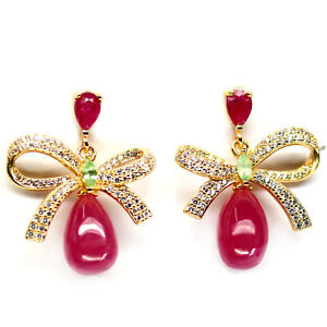 NATURAL 7 X 11 mm. RED RUBY & WHITE CZ DROP EARRINGS 925 STERLING SILVER