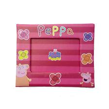 PEPPA PIG marco fucsia y rojo con flores purpurina en cartón presiona 19x15,5cm