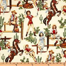 """Pin-up Cowgirl """"from the hip"""" Alexander Henry Fabric by 1/2 Yard"""