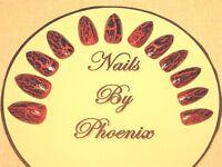 hand painted full cover orange/black crack stiletto false nails,choice of sizes