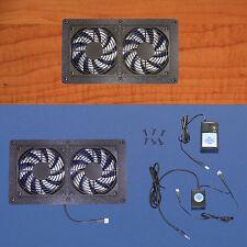 Dual Mega-fan Enclosed 12v Trigger-controlled AV Cabinet Cooling Fans / 12 volt