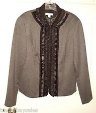 NIB COLDWATER CREEK Gray Ruffled-Front Jacket - Misses size 12