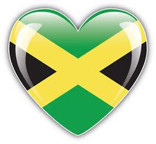 Jamaica Glossy Heart Flag Car Bumper Sticker Decal 5'' x 5''