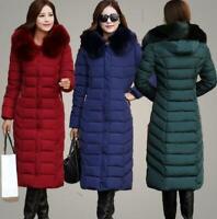 Womens Chic Hooded Cotton Down Coat Jacket Fur Collar Winter Long Parkas Warm WU