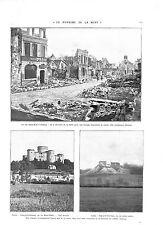 WWI  BATAILLE DE LA SOMME Ruines rues de Chauny & Coucy-le-Château ILLUSTRATION