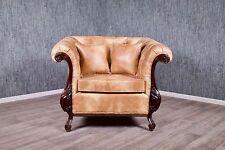 Chesterfield Sessel Kolonial Stil Antik Massiv Thronstuhl Polstermöbel braun