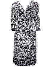 New-Black and White Animal Print Jersey Crossover Wrap Midi Dress-Size 14
