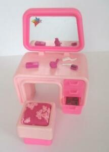 Barbie Dreamhouse 1978 Pink Vanity with Stool, Clock and Accessories Brush Comb