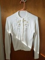 Vintage 1950s ivory, pearls sweater, California Girl