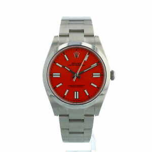 Rolex Oyster Perpetual 41 124300 Coral Red Dial Stainless Steel Box Papers 2021