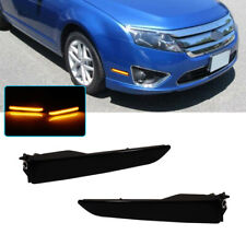 1Pair Black Lens Front Bumper Side Marker Lights Lamps For 2010-2012 Ford Fusion