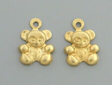 NEW 14K YELLOW GOLD GIRLS LADIES EARRING JACKETS CHARMS DANGLE TEDDY BEAR