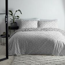 Fusion Navaho Reversible Easy Care Duvet Cover Bedding Set Silver/Charcoal