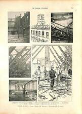 Incendie Noble Tour Église Hopital Saint-Sauveur de Lille Pompier Fireman 1896