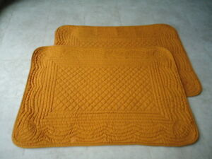 Set of 2 Deep Mustard Colored Quilted Straight Edge Placemat