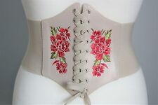 WIDE ELASTICATED WAIST CORSET BELT / BEIGE LACE UP EMBROIDERED FLOWER RED ROSE