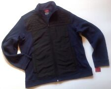 NEW ALFANI Mens Jacket Size XL X Large MixMedia Navy Blue Black Sweat Shirt Coat
