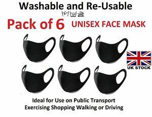Pack of 6 Reusable Washable Breathable Face Covering Masks Black Mask Unisex UK