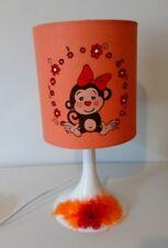 lampe de chevet  creacat   peint main thème animaux jungle Singe plume  fleur