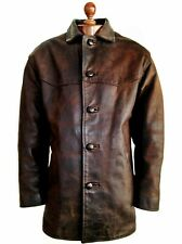 Leather 40s WW2 HORSEHIDE Officers Cyclist Car Coat Biker Trench Sports Jacket