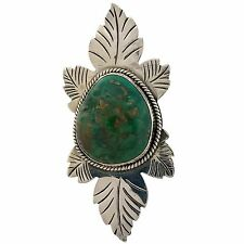 Turquoise Long Brooch Pin or Pendant Navajo Angela Lee Sterling Silver Royston