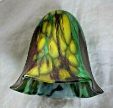 Tulipe en pâte de verre double couche jaune vert brun
