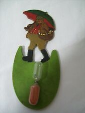 """Vintage Wood Sand 3 Minute Egg Timer """"Carrying Eggs in the Rain"""" Hand Painted"""