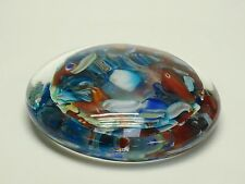 VINTAGE 60's MURANO GLASS ABSTRACT PATTERN PSYCHEDELIC OBLATE PAPERWEIGHT ~4.75""