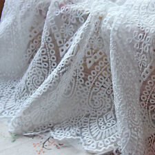 """1 Yard Lace Fabric White Floral Embroidered Organza Girls Dress Sewing Craft 51"""""""