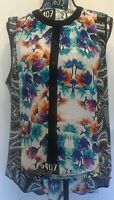 Nicole by Nicole Miller Womans Hi-Low Top Sz XL Floral Paisley Sleeveless Sheer