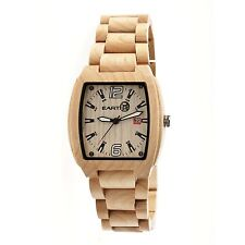 NEW Earth EW2401 Men's Sagano Watch Eco-Friendly Khaki Analog Organic Wood Date
