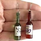 Plastic Wine Beer Bottle Dangle Drop Earrings Miniature Asian Liquor Bottles