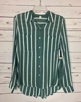BP. Nordstrom Women's XS Extra Small Green Striped Button Top Shirt NEW TAGS