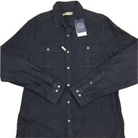 RM Williams Men's Long Sleeve Rancher Dark Blue Slim Fit Button Up Shirt 2XL XXL