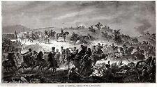 La Battaglia di Solferino, quadro di Paternostre.Risorgimento.Stampa Antica.1861