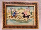 Hand Painted Persian Polo Scene Kari Inlay Frame Vintage Art, Free Shipping (c)
