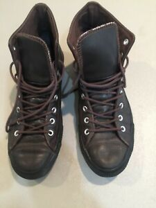 Converse Thinsulate  Chuck Taylor All Star Brown Leather Hi-Top black sole sz 12