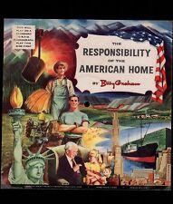 Vintage Square Cardboard PICTURE DISC Billy Graham American Home 1954 & Envelope