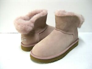 UGG CLASSIC MINI BLING WOMEN ANKLE BOOTS SUEDE PINK CRYSTAL US 9 /UK 7 /EU 40