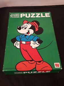 Vintage Disney Mickey Mouse Wooden Floor Puzzle 1981 Jumbo 16 Pcs Dutch Import