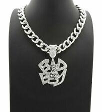 "Iced Hip Hop Silver PT BADBOY Pendant & 11mm 20"" Cuban Choker Chain Necklace"