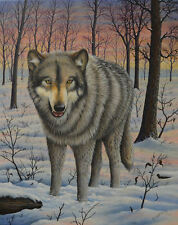 Fine Art, Grey (Gray) Timber Wolf Animal - Original Painting -Winter Wildlife