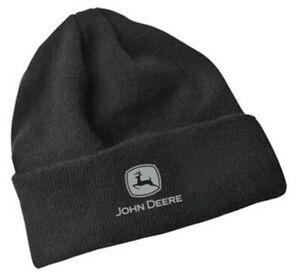 NEW John Deere Black Fleece Lined Beanie Stocking Cap LP67292 Gray Logo