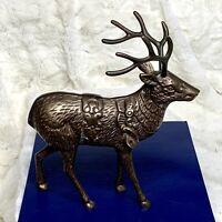Vintage Large 8in Brass Reindeer For Santa's Sleigh