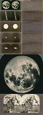 6 Stereofotos Mond, Pluto, Mars, Saturn , Teleskop, Sternschnuppe Motive um 1900