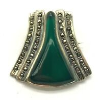 Oxidized Sterling Silver Geometric Green Chalcedony Marcasite Chunky Brooch Pin